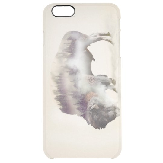 Buffalo-double exposure-american buffalo-landscape clear iPhone 6 plus case