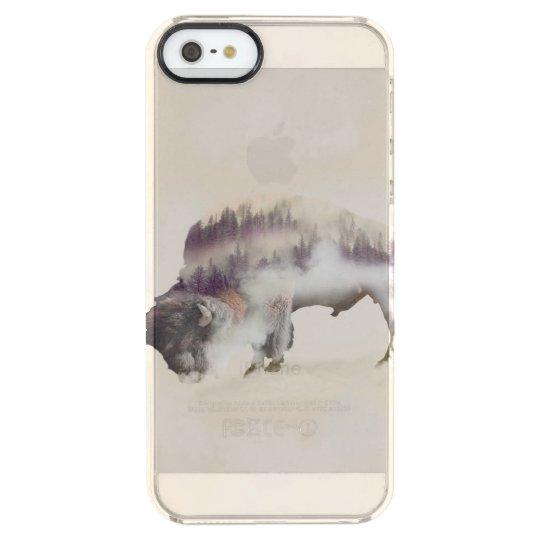 Buffalo-double exposure-american buffalo-landscape clear iPhone SE/5/5s case
