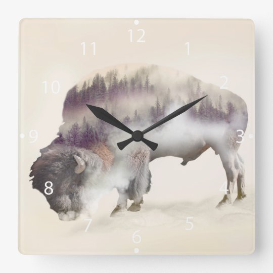 Buffalo-double exposure-american buffalo-landscape clocks