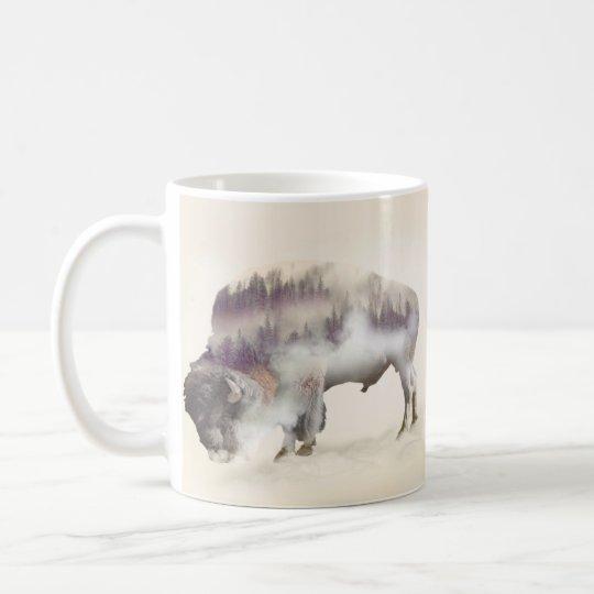Buffalo-double exposure-american buffalo-landscape coffee mug