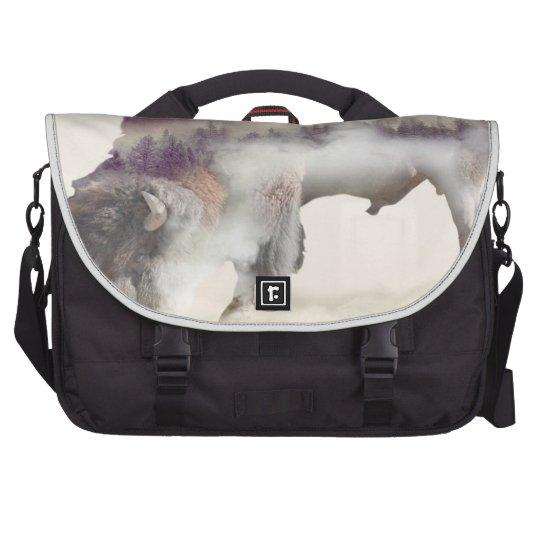 Buffalo-double exposure-american buffalo-landscape computer bag