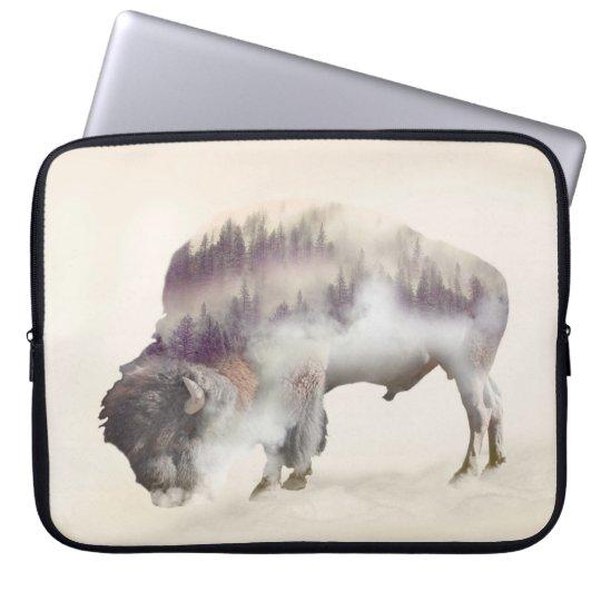 Buffalo-double exposure-american buffalo-landscape computer sleeve