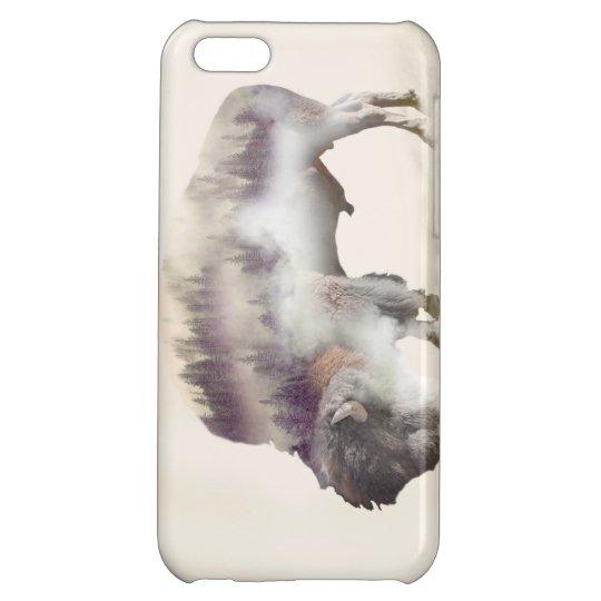 Buffalo-double exposure-american buffalo-landscape cover for iPhone 5C