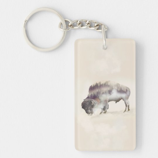 Buffalo-double exposure-american buffalo-landscape Double-Sided rectangular acrylic keychain