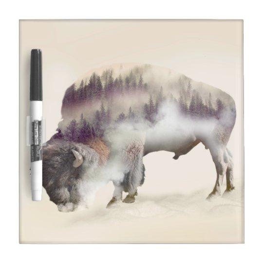 Buffalo-double exposure-american buffalo-landscape Dry-Erase board