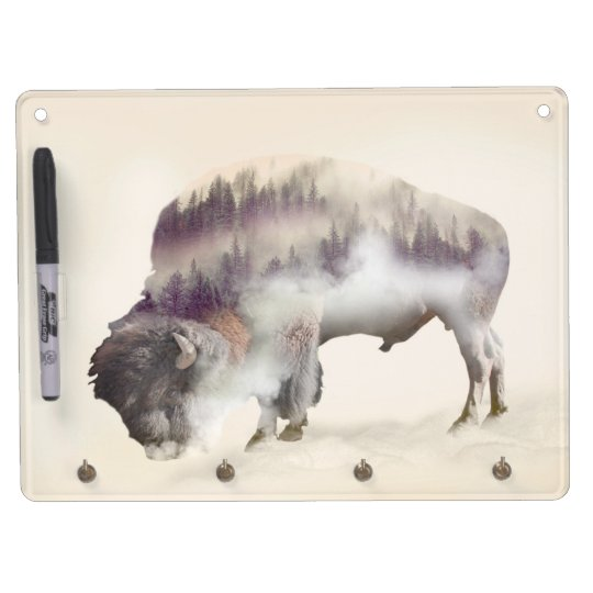 Buffalo-double exposure-american buffalo-landscape Dry-Erase boards