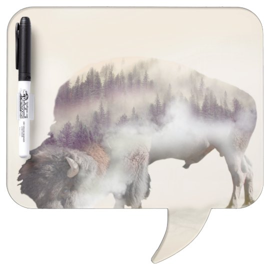 Buffalo-double exposure-american buffalo-landscape Dry-Erase boards