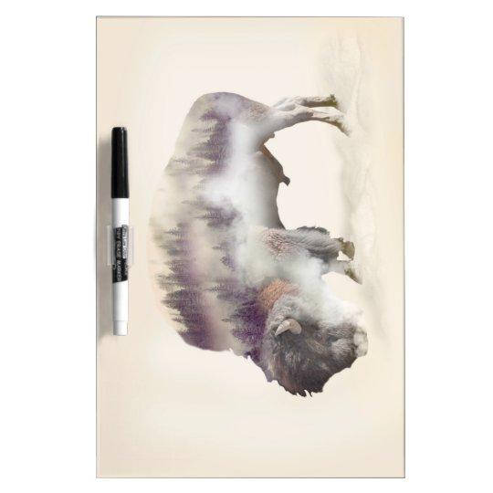 Buffalo-double exposure-american buffalo-landscape dry erase whiteboard