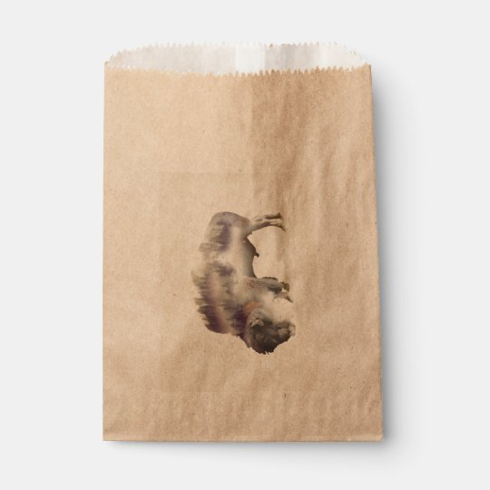 Buffalo-double exposure-american buffalo-landscape favour bag