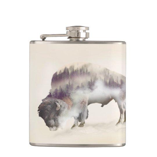 Buffalo-double exposure-american buffalo-landscape flasks