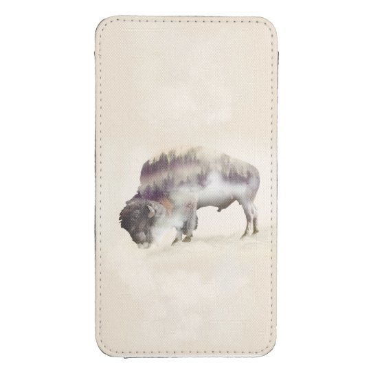 Buffalo-double exposure-american buffalo-landscape galaxy s4 pouch