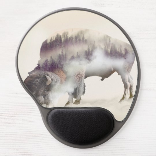 Buffalo-double exposure-american buffalo-landscape gel mouse pad