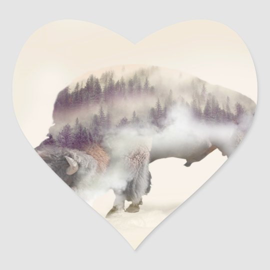 Buffalo-double exposure-american buffalo-landscape heart sticker