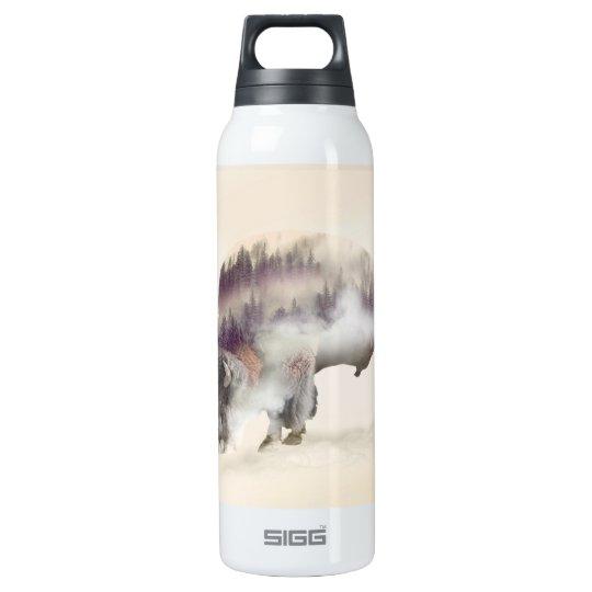 Buffalo-double exposure-american buffalo-landscape insulated water bottle
