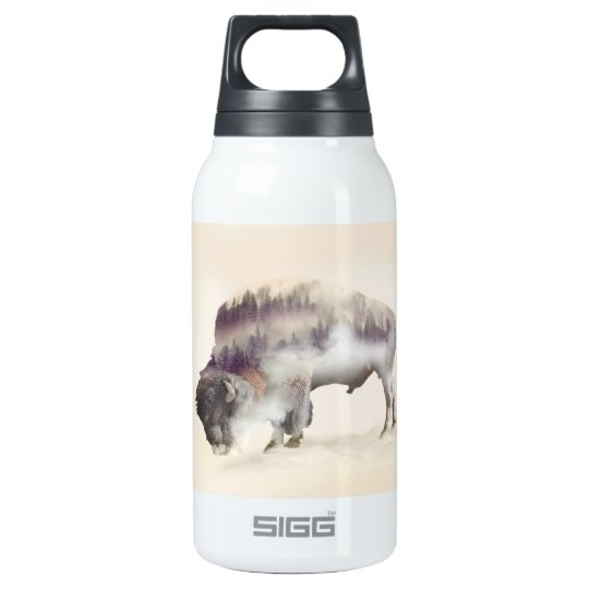 Buffalo-double exposure-american buffalo-landscape insulated water bottle