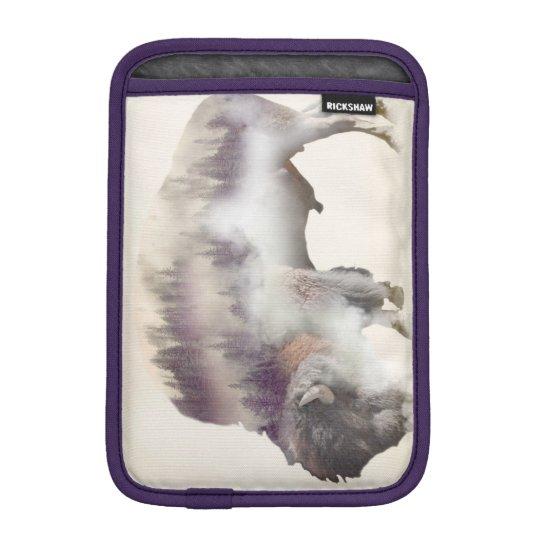 Buffalo-double exposure-american buffalo-landscape iPad mini sleeve