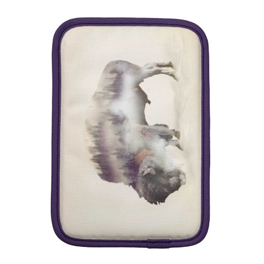 Buffalo-double exposure-american buffalo-landscape iPad mini sleeves