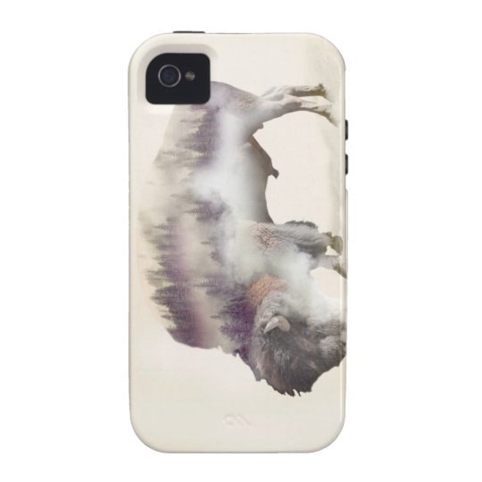 Buffalo-double exposure-american buffalo-landscape iPhone 4 cases