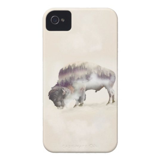 Buffalo-double exposure-american buffalo-landscape iPhone 4 cover