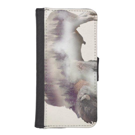 Buffalo-double exposure-american buffalo-landscape iPhone 5 wallet case