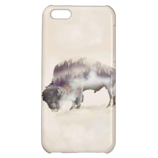 Buffalo-double exposure-american buffalo-landscape iPhone 5C cover
