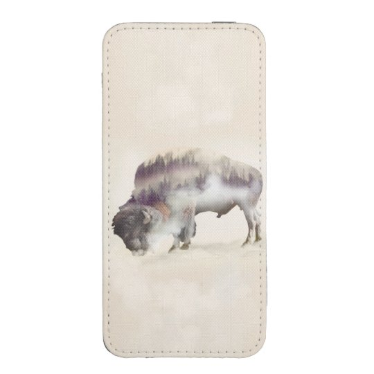 Buffalo-double exposure-american buffalo-landscape iPhone pouch