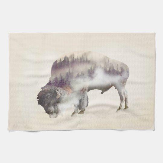 Buffalo-double exposure-american buffalo-landscape kitchen towel