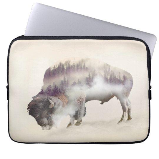 Buffalo-double exposure-american buffalo-landscape laptop sleeve