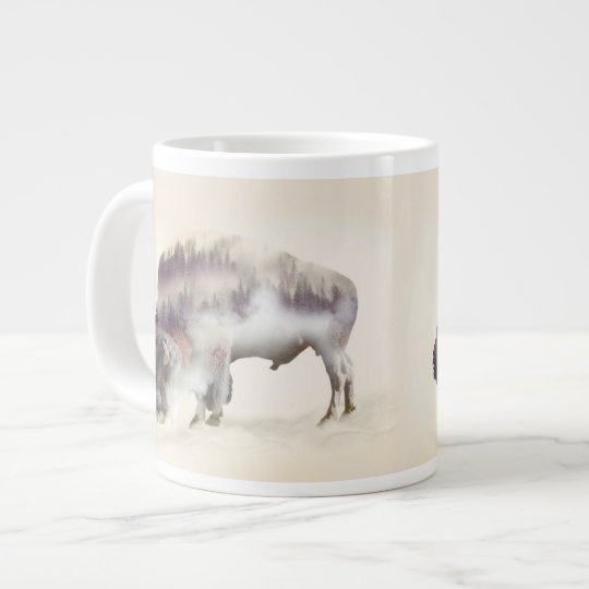 Buffalo-double exposure-american buffalo-landscape large coffee mug