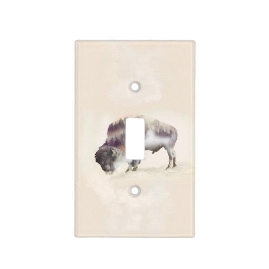 Buffalo-double exposure-american buffalo-landscape light switch cover