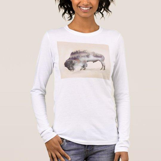 Buffalo-double exposure-american buffalo-landscape long sleeve T-Shirt