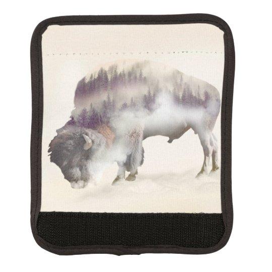 Buffalo-double exposure-american buffalo-landscape luggage handle wrap