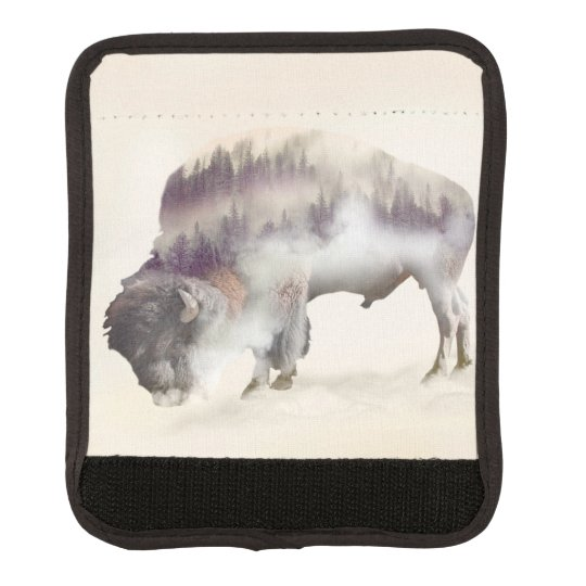 Buffalo-double exposure-american buffalo-landscape luggage handle wrap