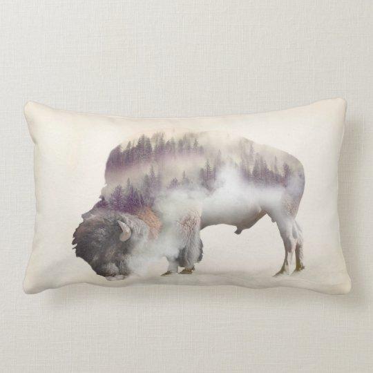 Buffalo-double exposure-american buffalo-landscape lumbar pillow