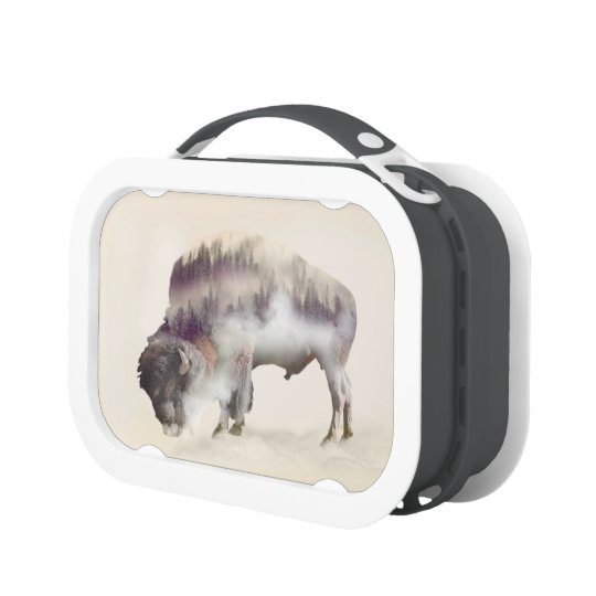 Buffalo-double exposure-american buffalo-landscape lunchbox