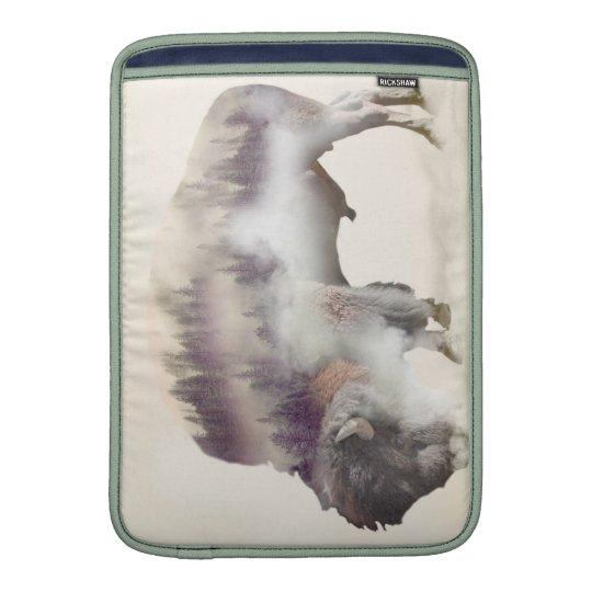 Buffalo-double exposure-american buffalo-landscape MacBook sleeves