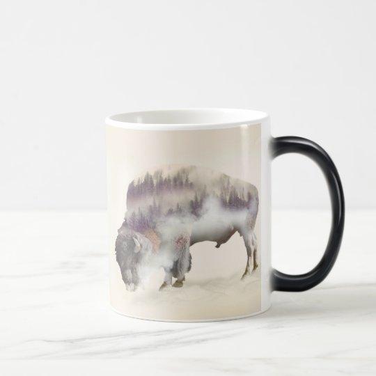 Buffalo-double exposure-american buffalo-landscape magic mug