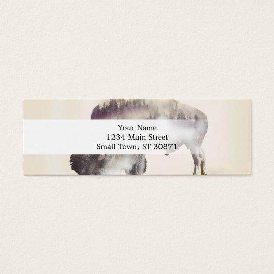 Buffalo-double exposure-american buffalo-landscape mini business card