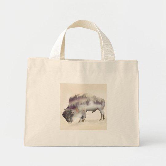 Buffalo-double exposure-american buffalo-landscape mini tote bag
