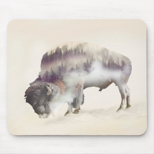 Buffalo-double exposure-american buffalo-landscape mouse pad