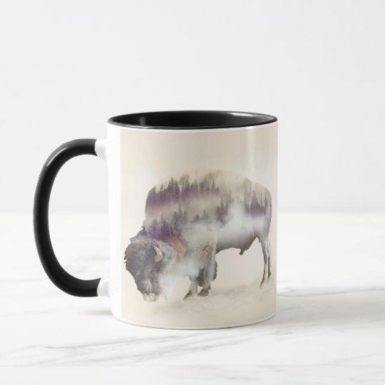 Buffalo-double exposure-american buffalo-landscape mug