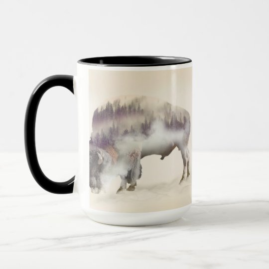 Buffalo-double exposure-american buffalo-landscape mug