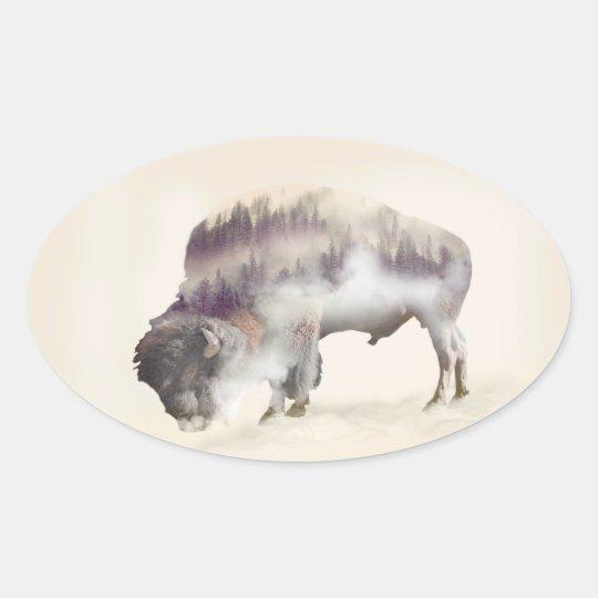 Buffalo-double exposure-american buffalo-landscape oval sticker