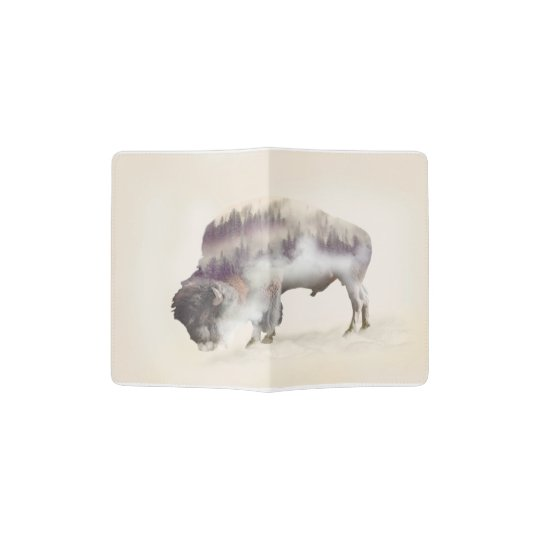 Buffalo-double exposure-american buffalo-landscape passport holder