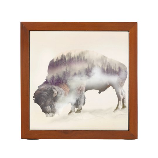 Buffalo-double exposure-american buffalo-landscape Pencil/Pen holder