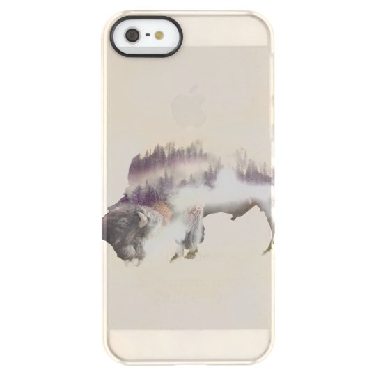 Buffalo-double exposure-american buffalo-landscape permafrost® iPhone SE/5/5s case