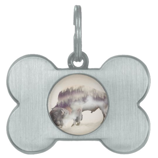 Buffalo-double exposure-american buffalo-landscape pet ID tag