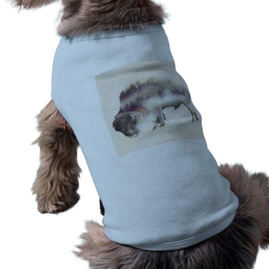 Buffalo-double exposure-american buffalo-landscape pet shirt