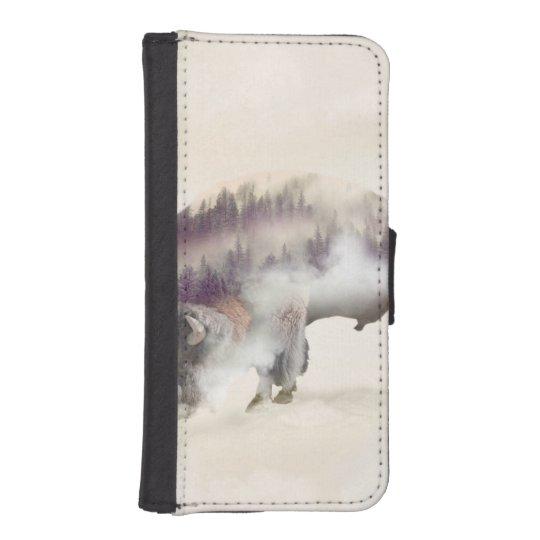 Buffalo-double exposure-american buffalo-landscape phone wallet cases