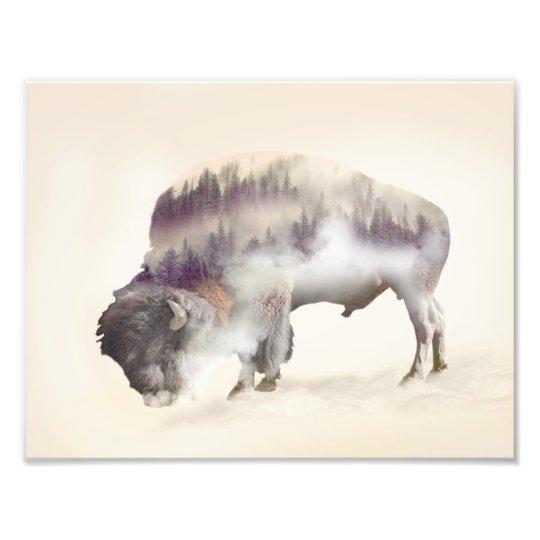 Buffalo-double exposure-american buffalo-landscape photo print
